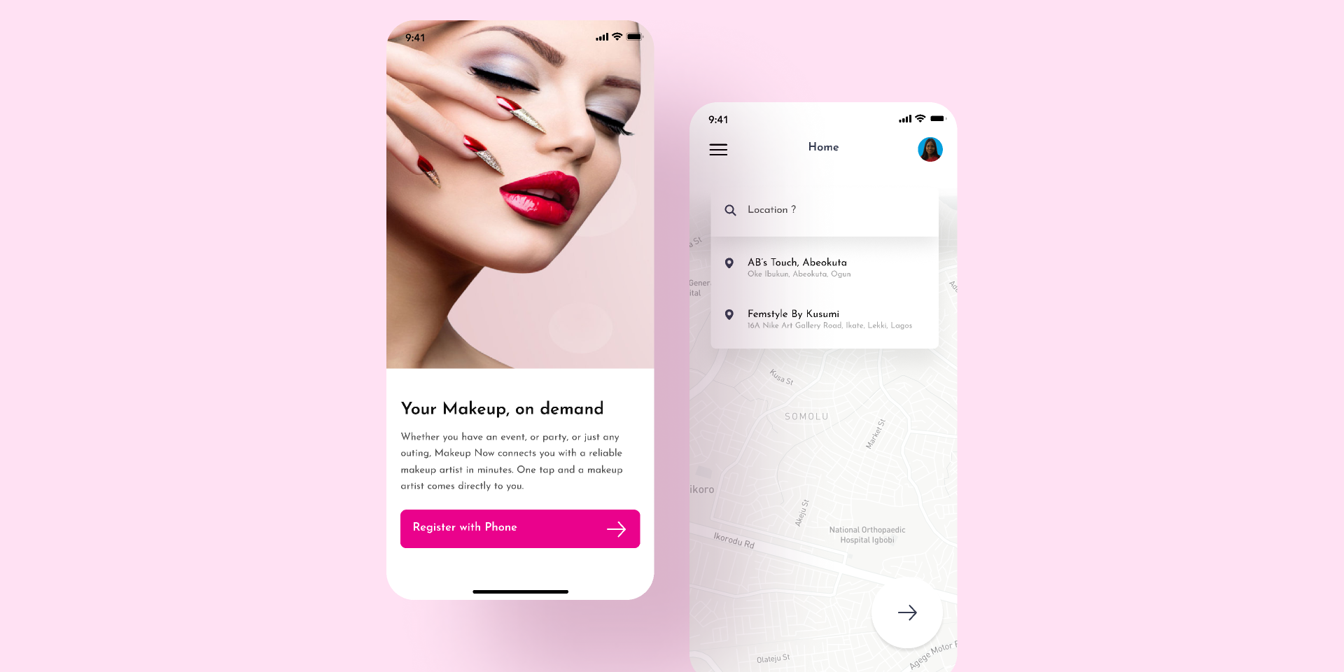 Makeup Artist Listing App Figma template