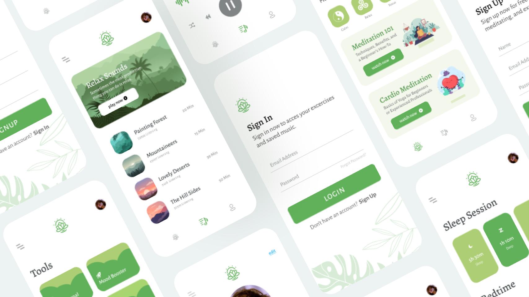 Medic Meditation App  Figma mobile templates