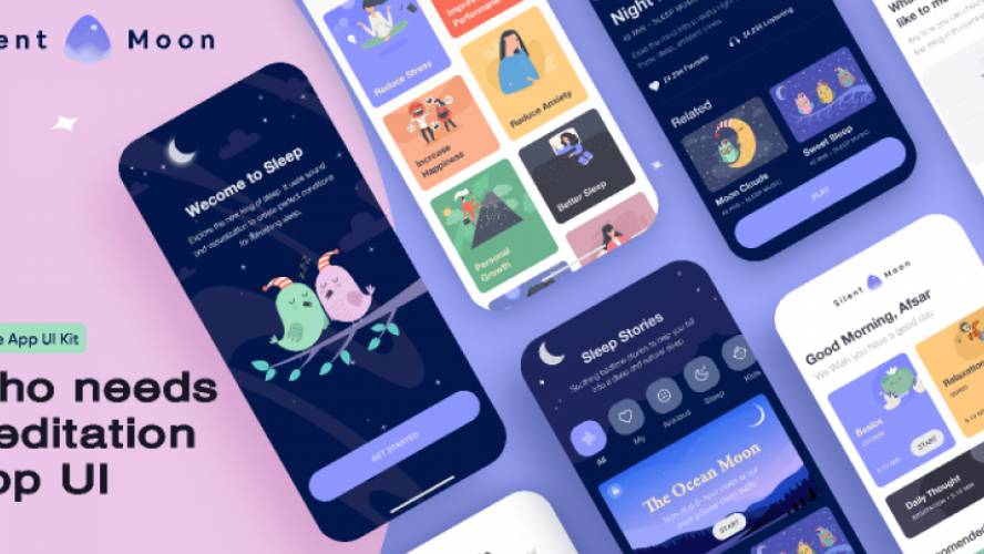 Meditation app UI figma free