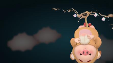 Monkey + piggy 3D figma illustration free