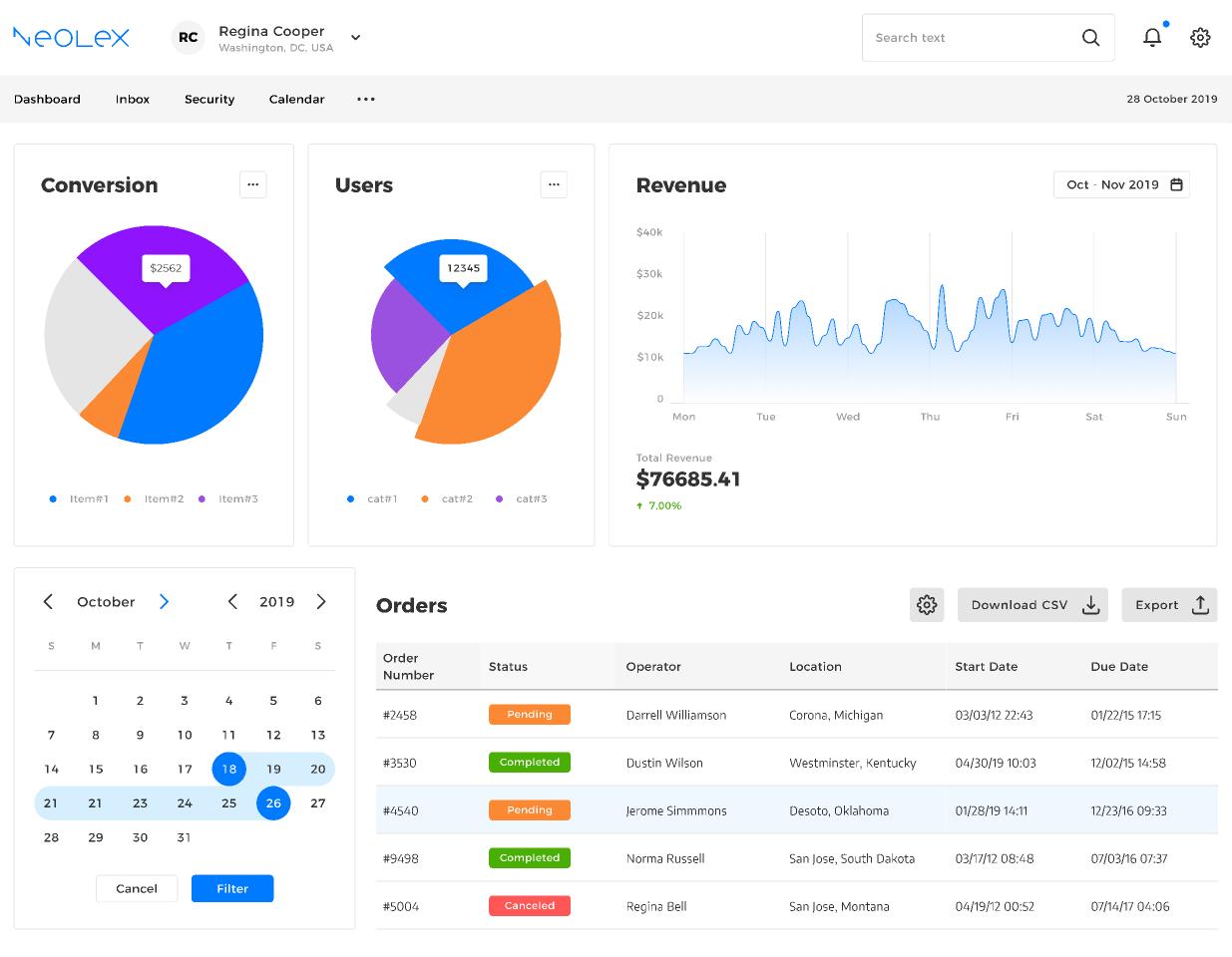 Neolex Dashboard UI kit