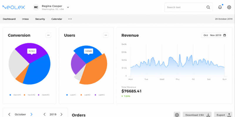 Neolex Dashboard UI kit