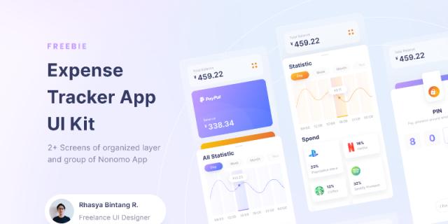 Nonomo - Expense Tracker UI Kit figma templates free