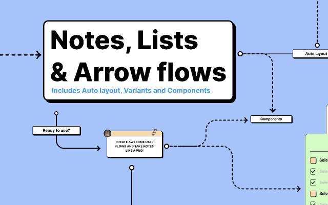 Notes, Lists & Arrow flows figma