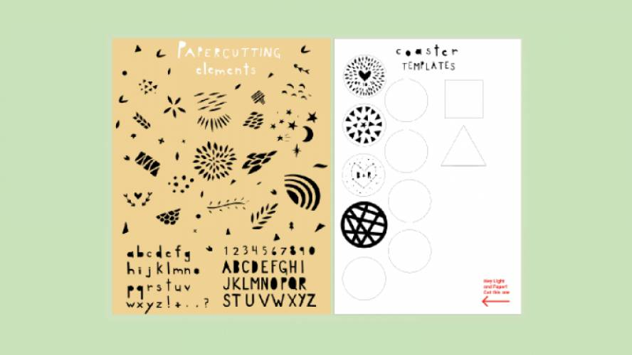 Papercutting Coaster Design Figma Template