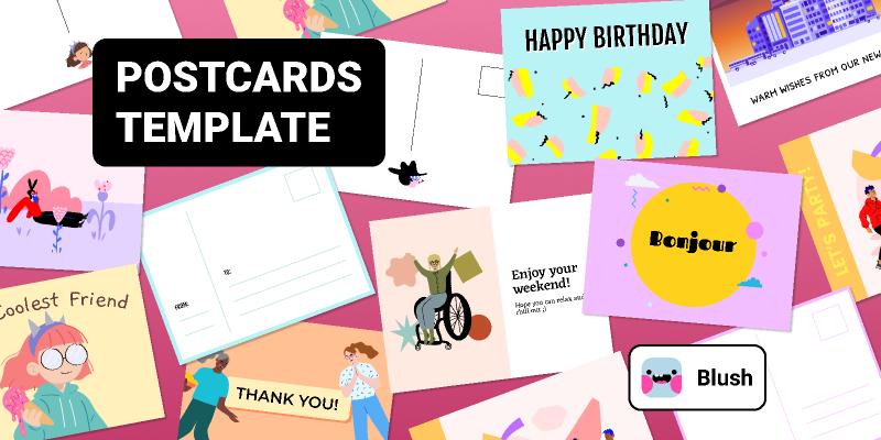 Postcard & E-card Template with Illustrations figma