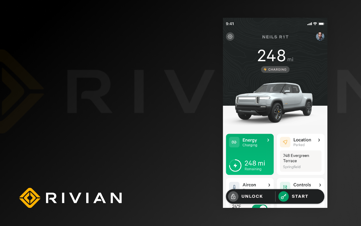 Rivian App Prototype with autolayout Figma