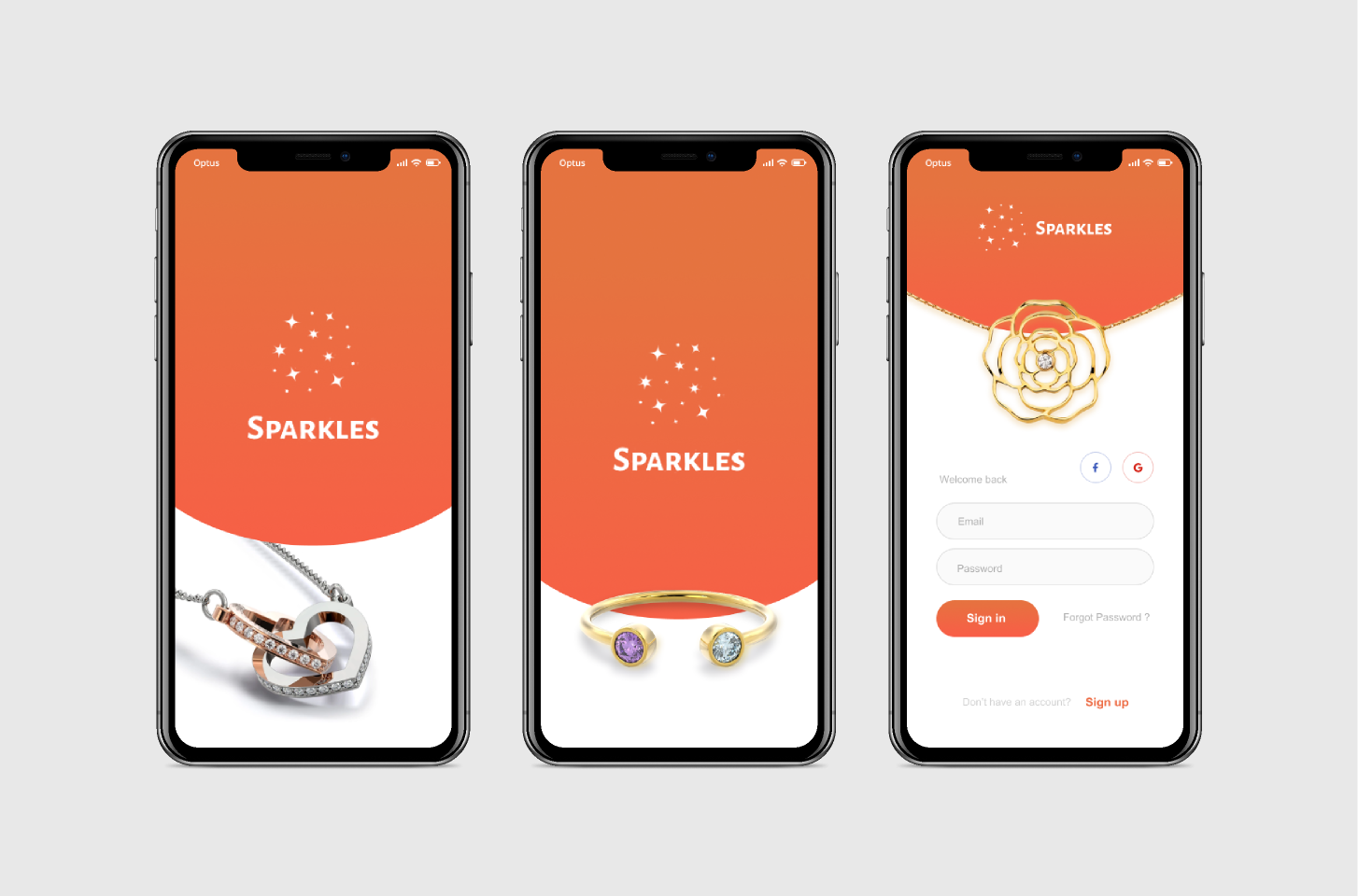 Sign in jewelry screens Figma templates