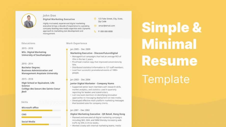 Simple and Minimal Resume Template Figma free