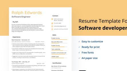 Software developer Resume/cv Figma Design template