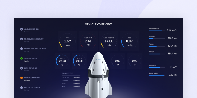 SpaceX Crew Dragon Flight Control UI