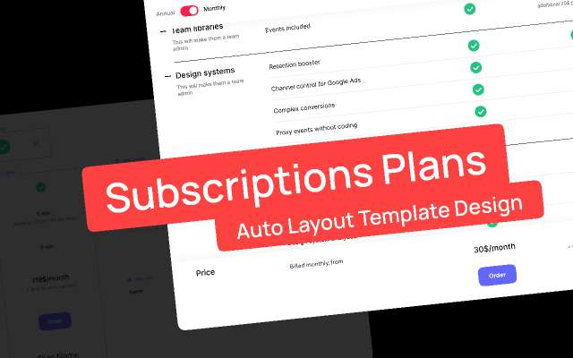 Subscriptions Plans — Auto Layout Template Figma Design