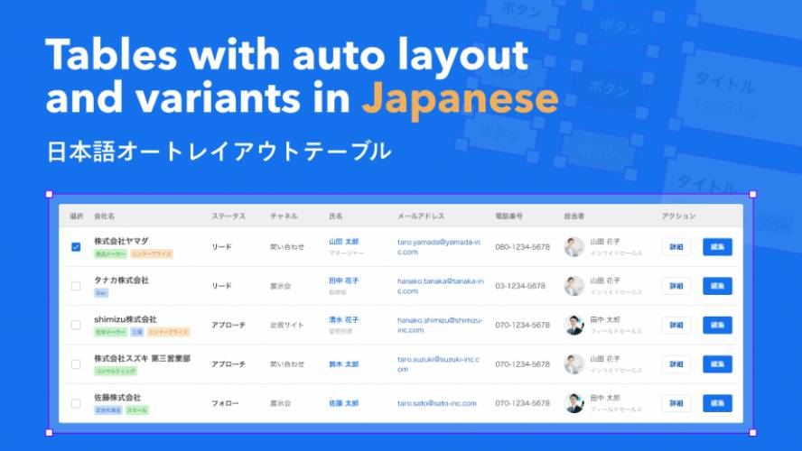 Tables with auto layout and variants in Japanese