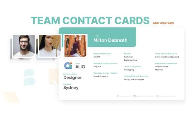 Team Contact Cards & Avatars