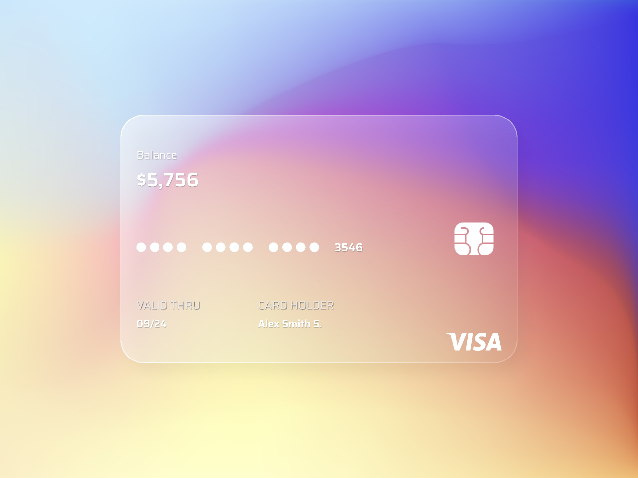 UI Design Credit Card | Glassmorphism figma free