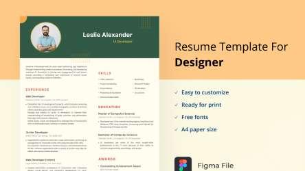 UI Developer Resume Template Figma