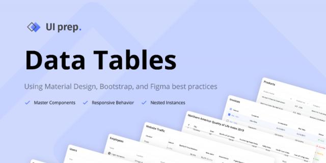 UI Prep Data Tables 3.0 Figma templates