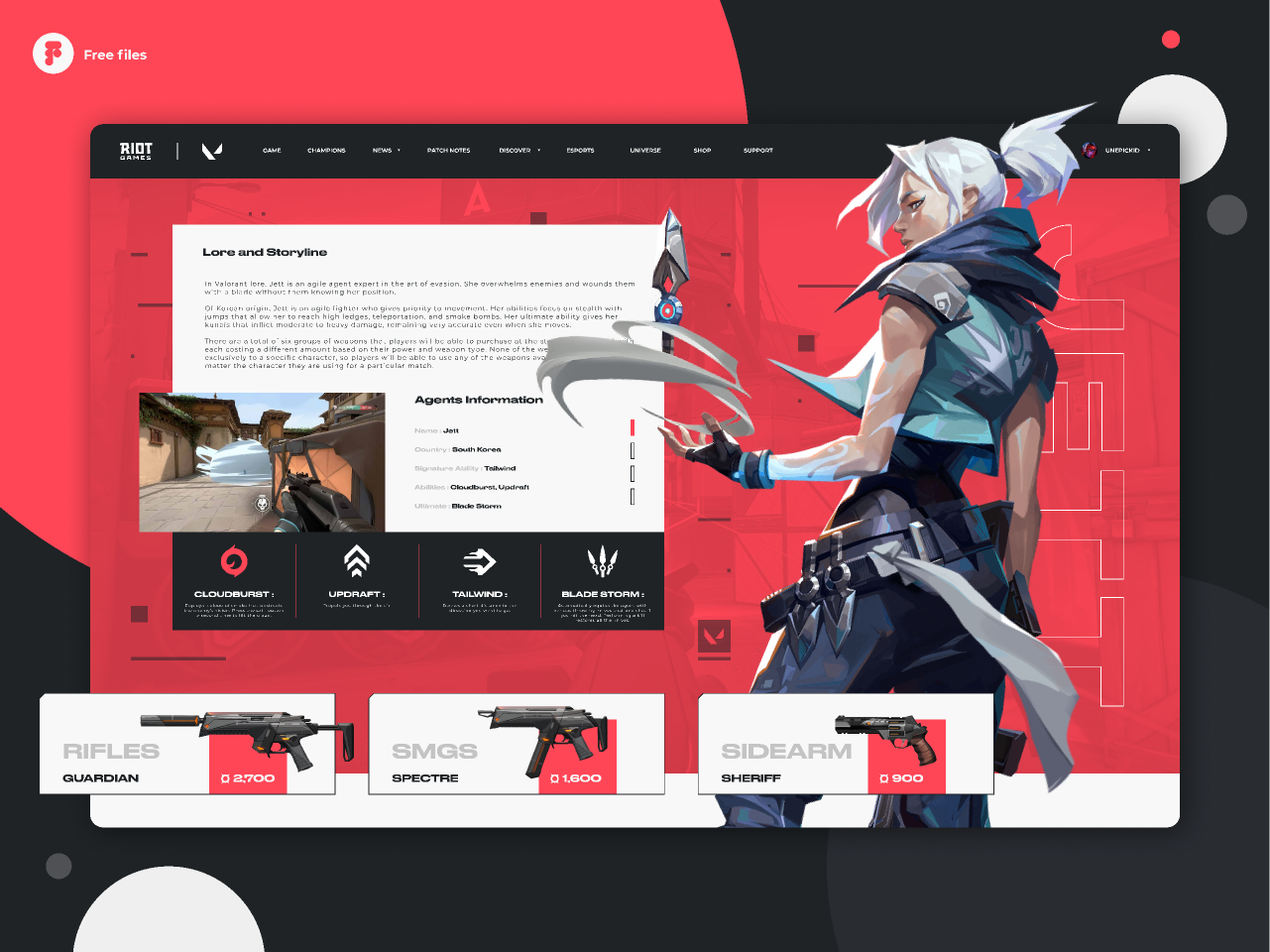 Valorant - Agent Jett page concept design
