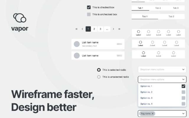 Vapor - Wireframe figma library