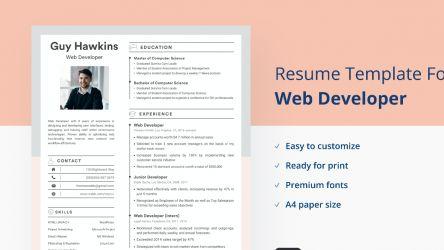 Web Developer Resume/CV Template 2021 simple