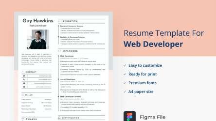 Web Developer Resume/CV Template Figma Design