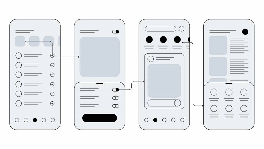 Wireframes for mobile UI design Figma Template