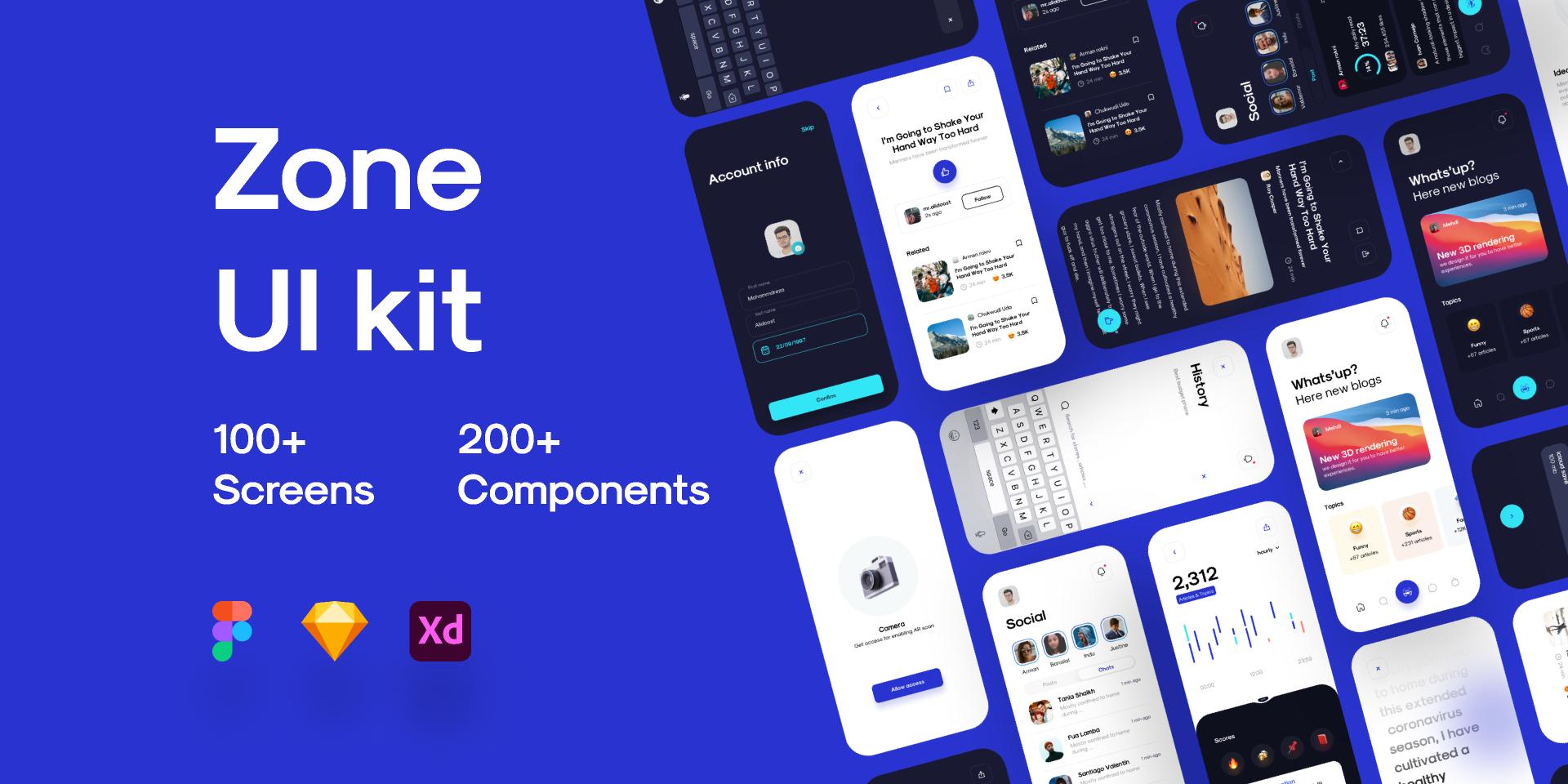 Zone UI Kit - Demo version figma templates free